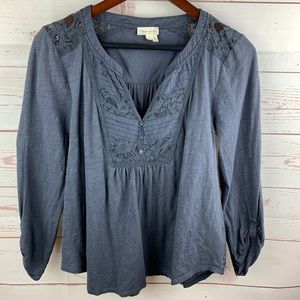 Anthro | Meadow Rue Gray Tab Sleeve Blouse
